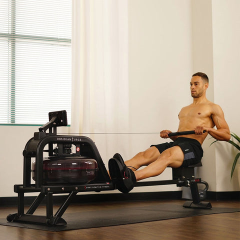 Sunny Health & Fitness Obsidian Surge Water Rowing Machine Rower w/ LCD Monitor - Barbell Flex