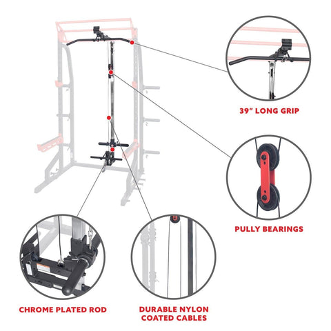 Sunny Health & Fitness Lat Pull Down Attachment Pulley System for Power Racks - Barbell Flex