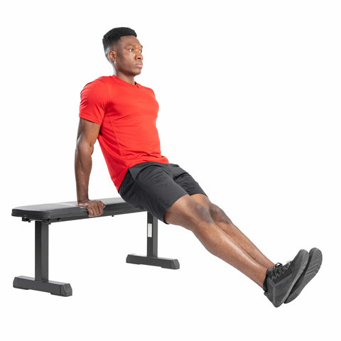 Sunny Health & Fitness Flat Utility Weight Bench - Barbell Flex