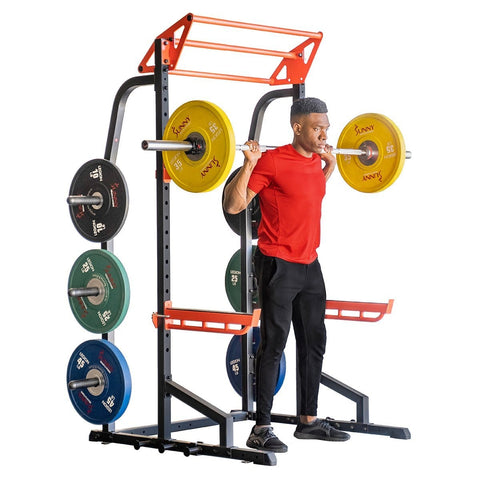 Sunny Health & Fitness Power Zone Half Rack Heavy Duty Performance Power Cage with 1000 LB Weight Capacity - Barbell Flex