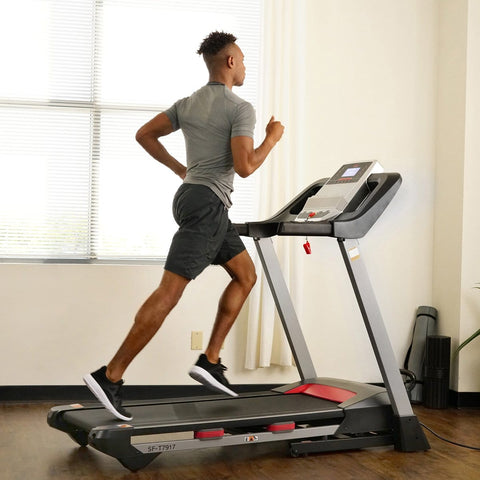 Sunny Health & Fitness Electric Folding Treadmill with Heart Rate Monitoring, Bluetooth Speakers and USB Charging Function - Barbell Flex