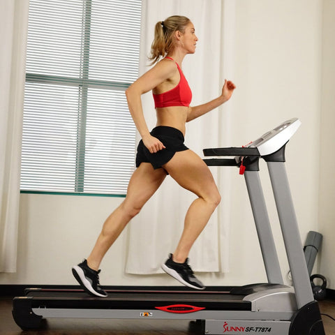 Sunny Health & Fitness Performance Treadmill, High Weight Capacity w/ 15 Levels of Auto Incline, MP3 and Body Fat Function - Barbell Flex