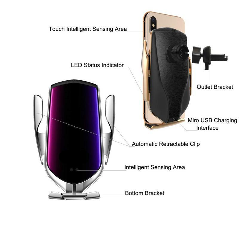 Automatic Clamping Wireless Car Charger - SNAPPYFINDS.COM ™