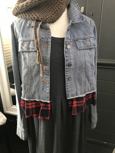 Denim Jacket with Flannel Ruffle
