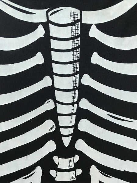 Unique Vintage Black Skeleton Bones Graves Swing Dress
