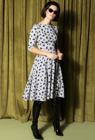 Unique Vintage Grey with Black Cats Swing Dress