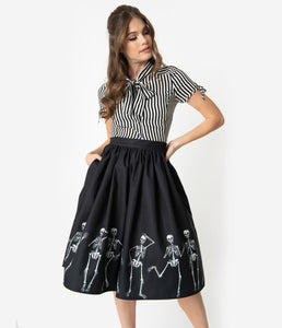 Unique Vintage Black Dancing Skeletons Print High Waist Circle Swing Skirt