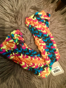 Neon Rainbow Fingerless Gloves