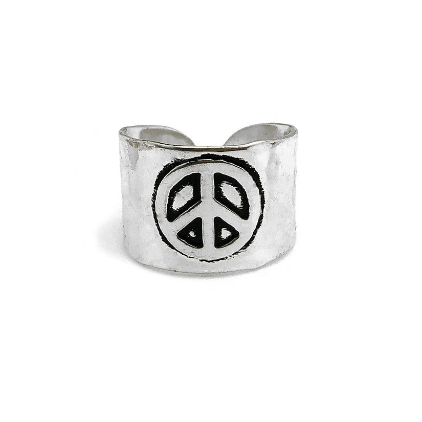 Peace Sign Band Ring