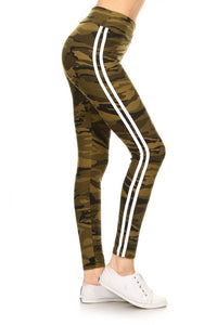 Camo Print Legging with Track Stripe