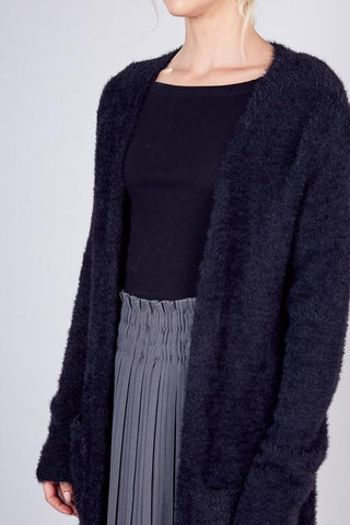 Black Fuzzy Texture Cardigan Sweater