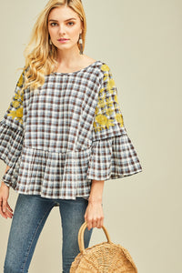 Entro Plaid Smock Top