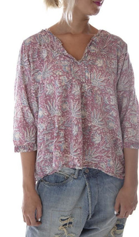 European Cotton Hand Block Printed Bondi Blouse