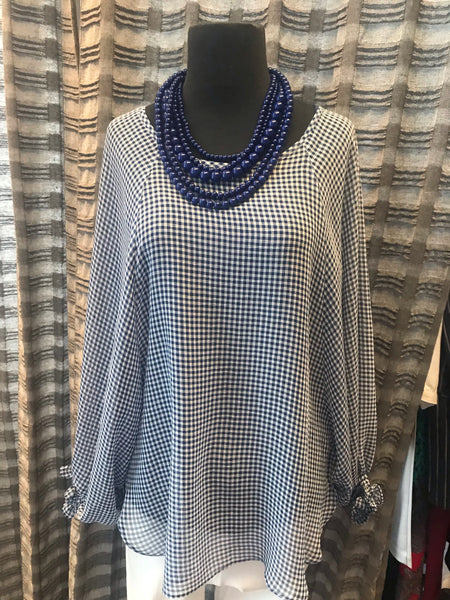 Hilary Radley Gingham Check Blouse