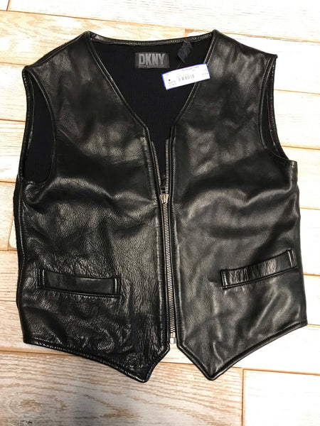 DKNY Leather Front Vest