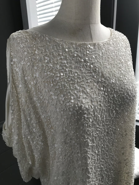 Beaded Cold Shoulder Cocktail Dress