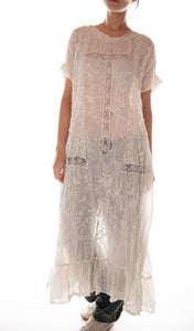 Linen Ramie Anna Grace Embroidered Roses Dress