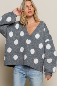Polka Dot Deep V Neck Sweater