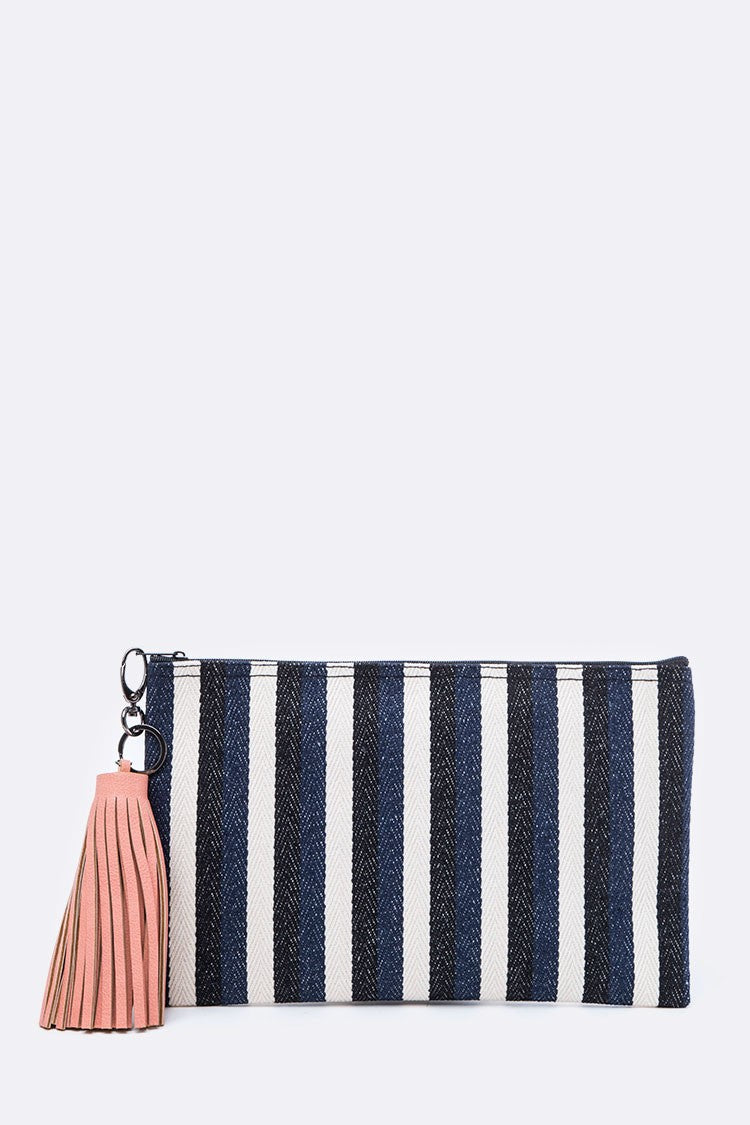Stripe Canvas Pouch with Tassel