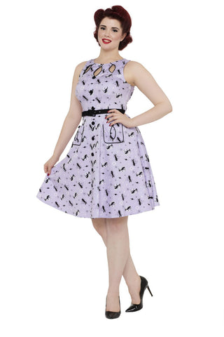 Voodoo Vixen Lavendar Kitty Vintage Dress