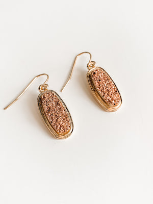 GOLD/PINK DRUZY EARRINGS