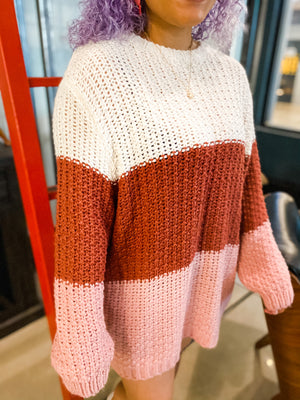 PINK AND WHITE OVERSIZED SWEATER