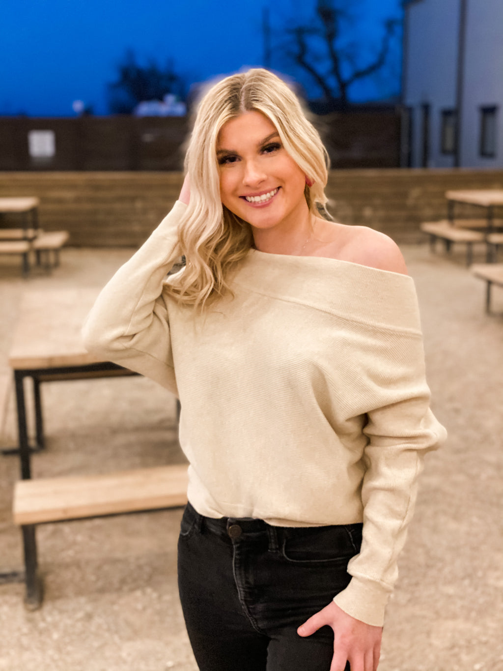 TAN OFF SHOULDER SWEATER TOP