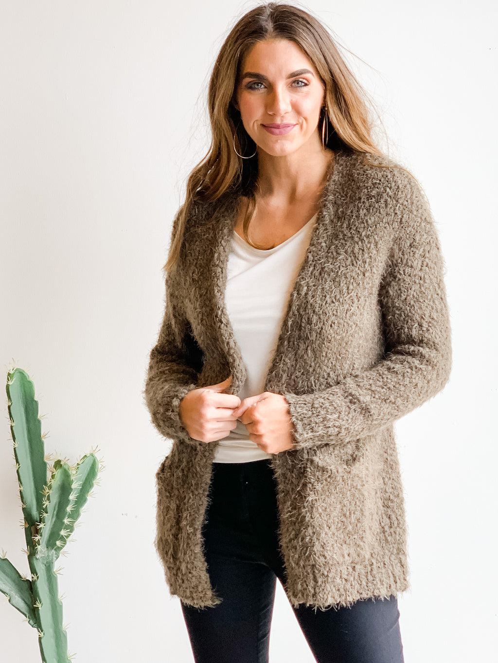 SUPER SOFT GREEN FUZZY CARDIGAN