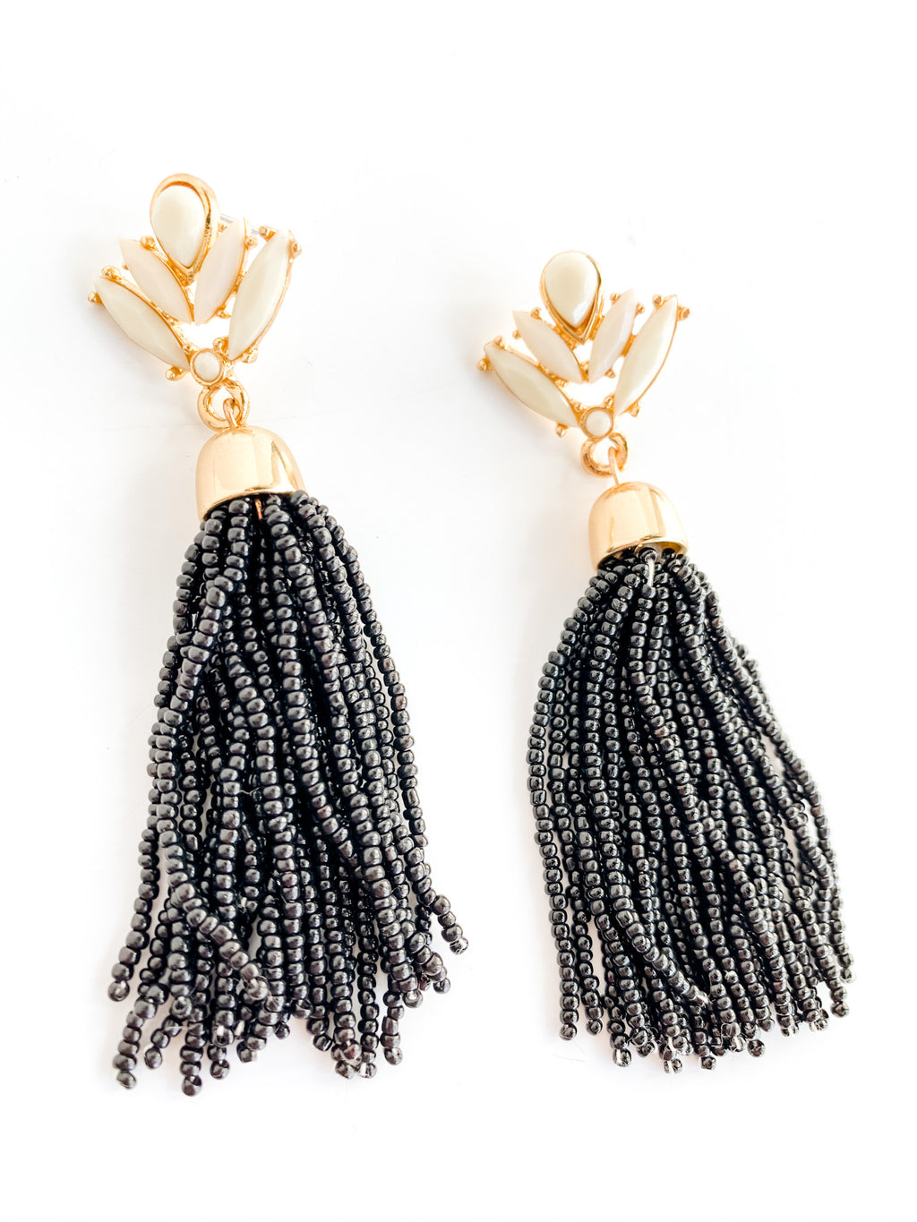 BLACK BEADED TASSELS