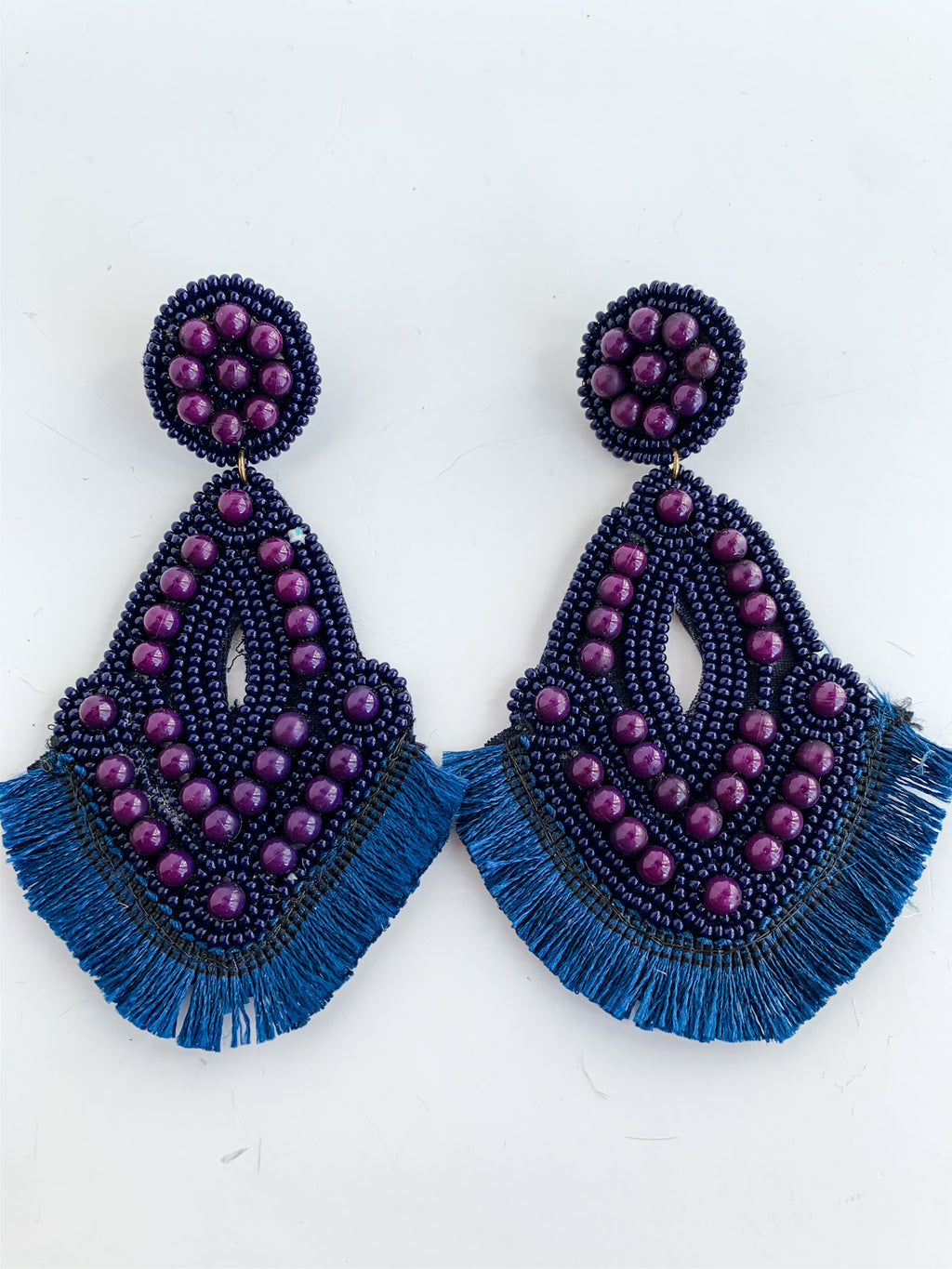 NAVY BEADED FRINGE EARRINGS