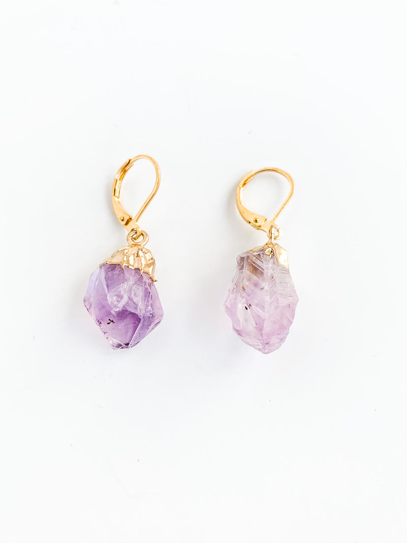 PURPLE ROCK DROP EARRINGS