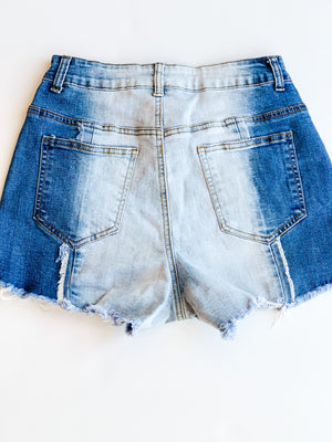 FRAYED COLORBLOCK DENIM SHORTS