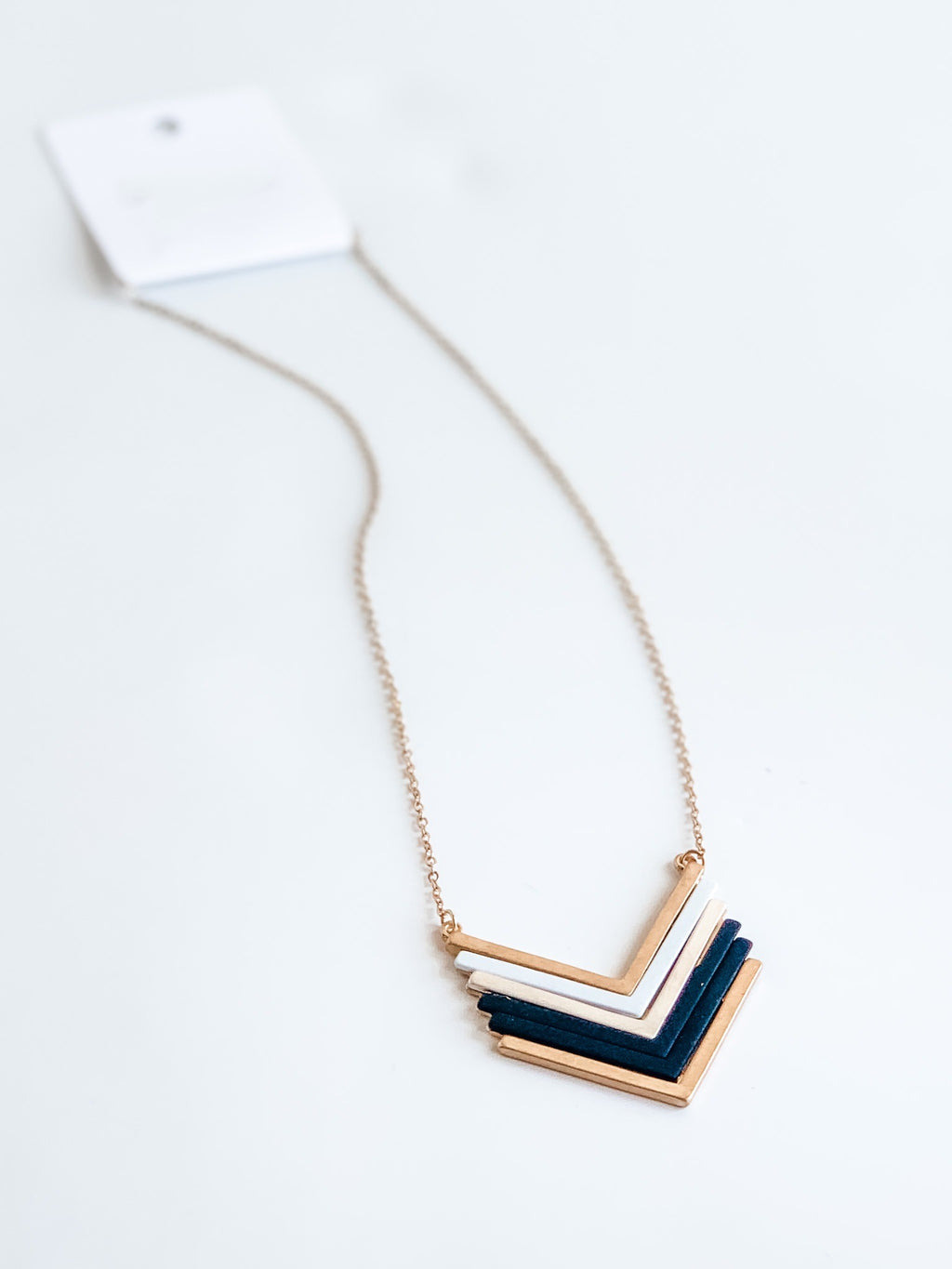 METAL COATED CHEVRON PENDANT