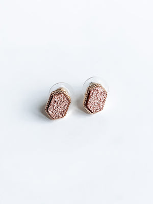 DRUZY HEXAGON POST EARRINGS