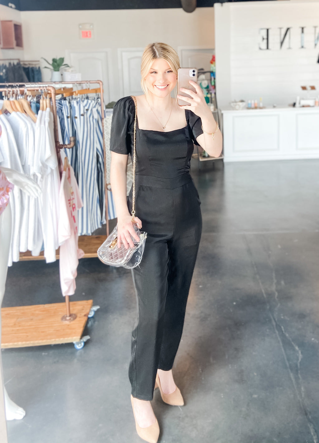BLACK PUFF SLEEVE JUMPSUIT