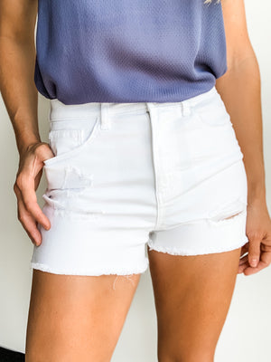 WHITE RAW EDGE SHORTS