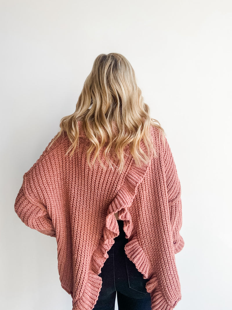 OPEN BACK RUFFLE SWEATER