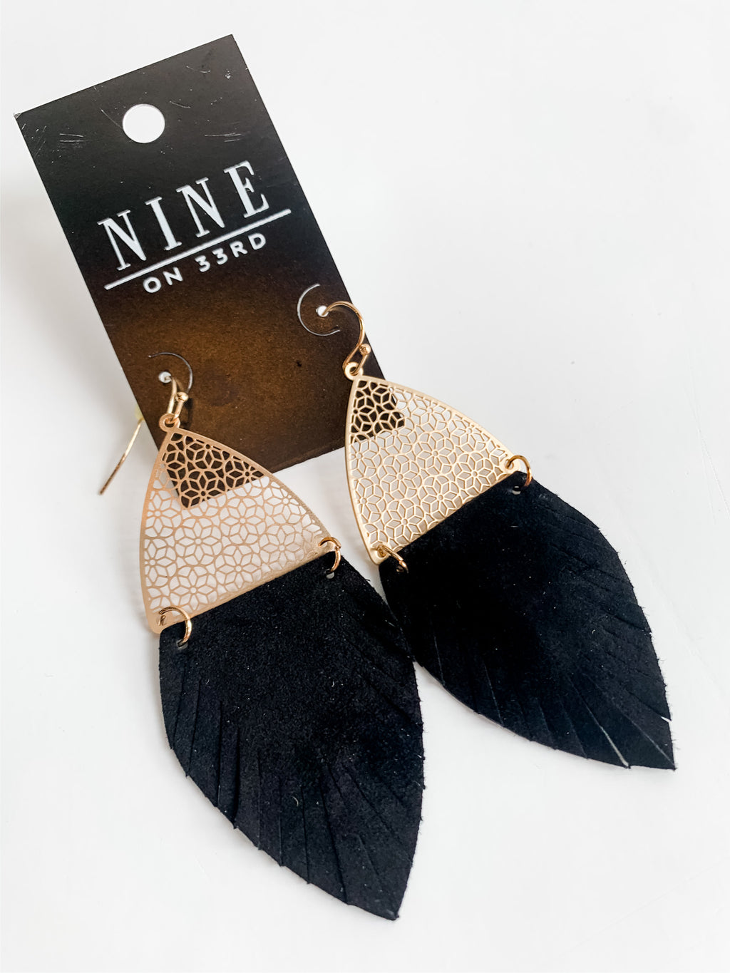 BLACK LEATHER FRINGE EARRINGS