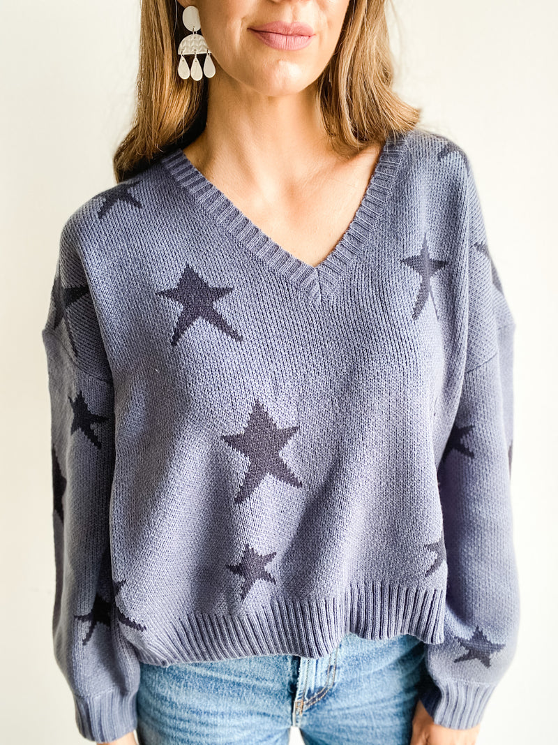 INDIGO BLUE STAR SWEATER