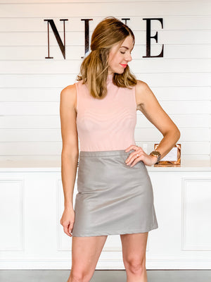 STONE LEATHER SKIRT