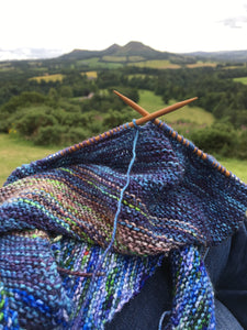 hand knitting in scotland by the eildon hills