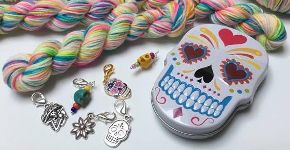day of the dead sugar skull hand dyed multi colour yarn skeins