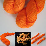 neon fluorescent orange sock yarn for festival knits and crafts
