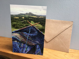 knitting in scotland photo greeting card of the Eildons