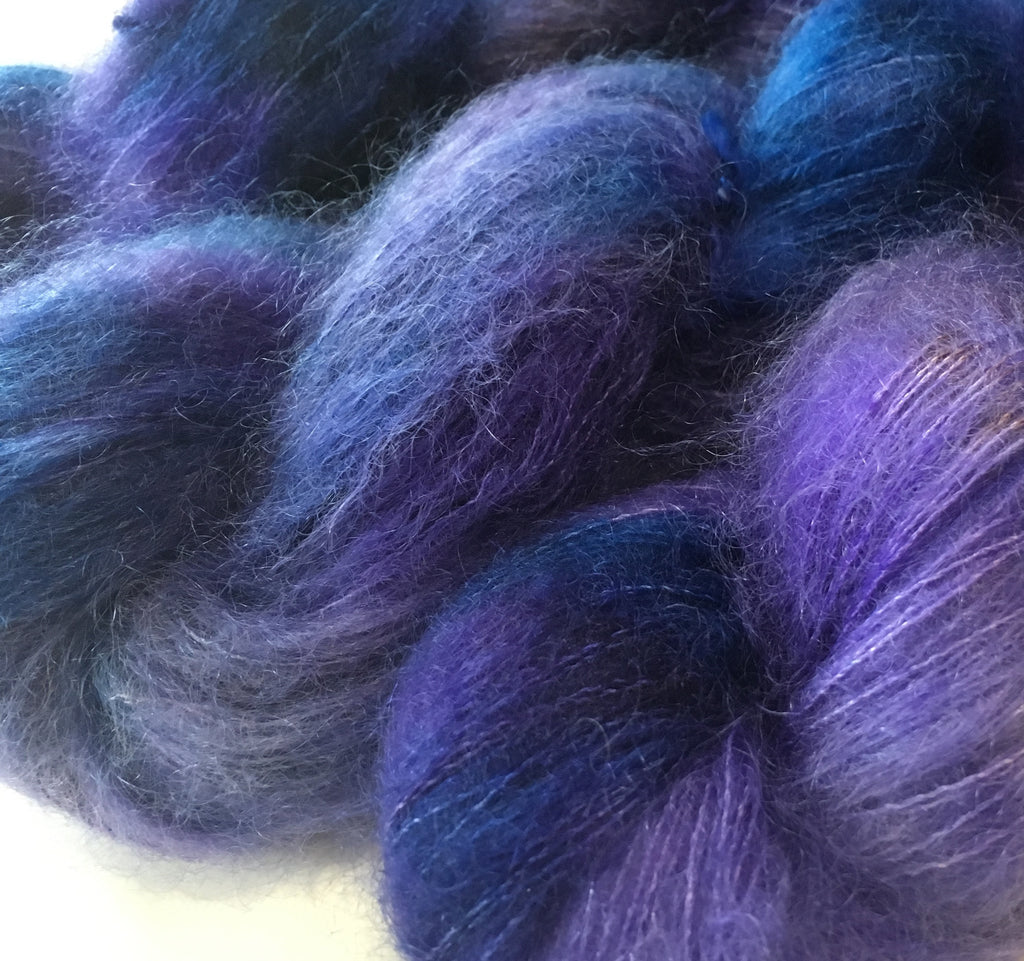 hand dyed brushed kid silk lace in purples and blues