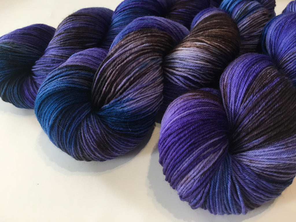 100g merino and nylon purple indie dyed yarn for knitting and crochet