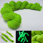 black light uv reactive green merino wool for knitting and crochet