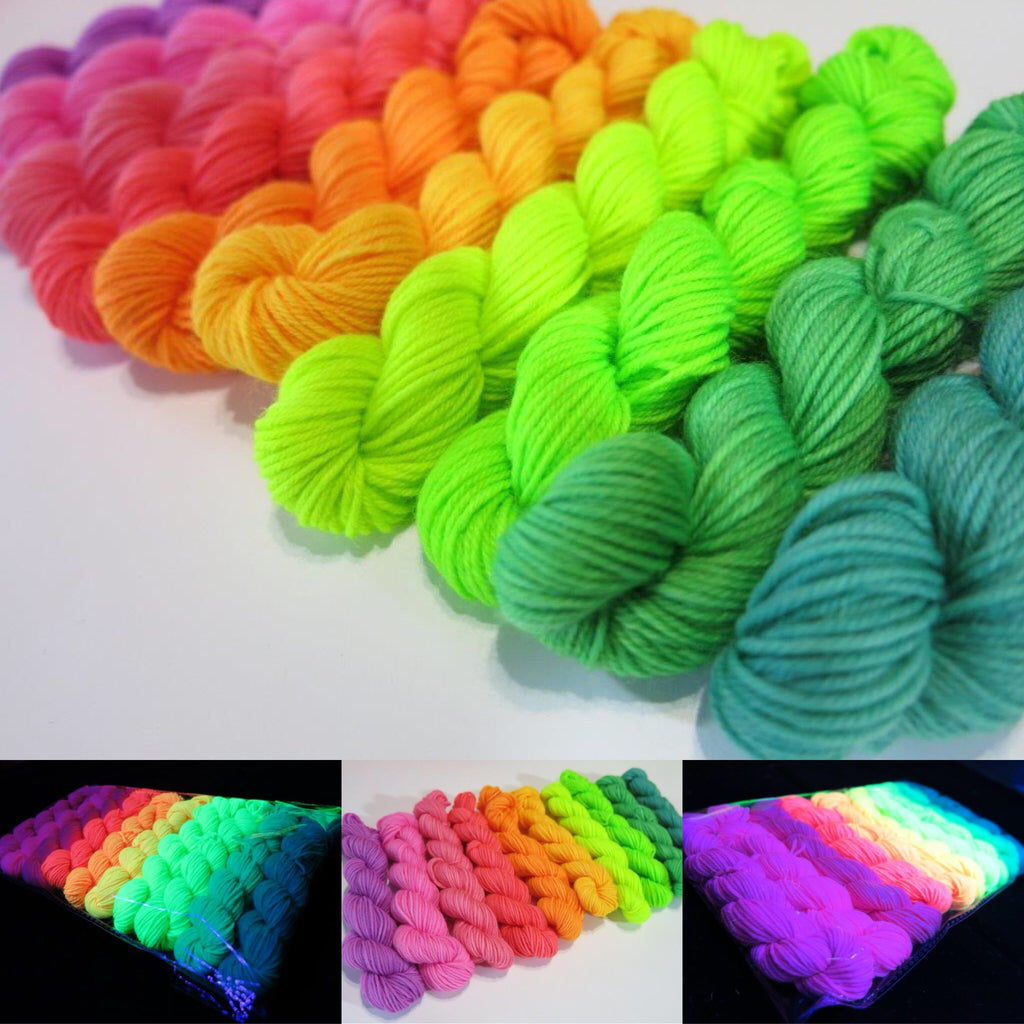 uv reactive rainbow mini skeing in neon bright colours