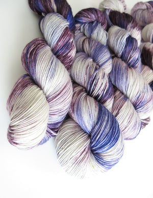 kettle dyed purple yarn skeins for knitting and crochet
