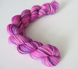 hand dyed 20g sock yarn mini skein in uv pink